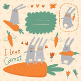 Häschen und Karottenvektorsatz Stockbild