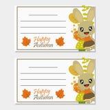 Häschenmädchen mit Herbstelementen vector Karikaturillustration für Herbstgruß-Kartendesign stockbild