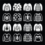 Hässliche Weihnachtsstrickjacke auf den weißen Ikonen des Pullovers eingestellt Stockfotos