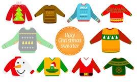 Hässlicher Weihnachtsstrickjacken-Vektorsatz lizenzfreie abbildung