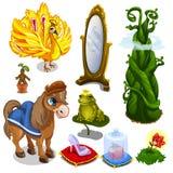Häst, fågel, groda och magiobjekt vektor vektor illustrationer