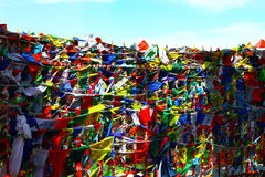 Häst för vind för lungta för buddismbönflaggor med padmemummel b för om mani Royaltyfri Fotografi