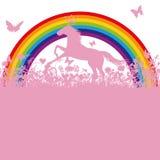 Häst framme av en regnbåge Arkivfoto