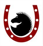 Häst hästsko Lös svart häst stock illustrationer