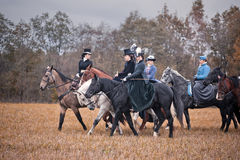 Häst-jakt med damer i ridningvana Royaltyfri Bild