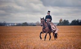 Häst-jakt med damtoalett i ridningvana Fotografering för Bildbyråer