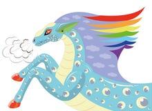 Häst med en man en regnbåge. Royaltyfria Foton