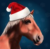 Häst med Santa Claus Hat Arkivbilder