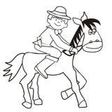 Häst och cowboy - färgläggning Arkivbilder