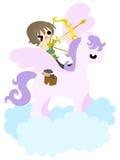 Häst- och folk~A pegasus på cloud~en Royaltyfri Fotografi
