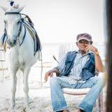 Häst och man på stranden Arkivbild