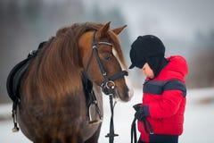 Häst och pojke - barnridninghästrygg Fotografering för Bildbyråer
