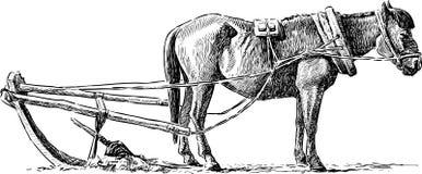 Häst på en åkermark vektor illustrationer