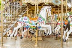 Häst på en karusell på en mässa Royaltyfri Foto