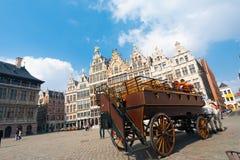 Häst tecknad vagn Grote Markt Antwerp Royaltyfri Bild