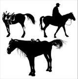 häst tre vektor illustrationer