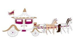 Häst & vagn stock illustrationer