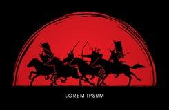 Hästar för samurajkrigareridning stock illustrationer