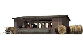 Hästar i en gammal träladugård arkivfoto