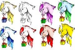 Hästar med en gåva Royaltyfri Illustrationer