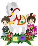 Hästar och folk ~Japanese Celebration~ Royaltyfria Bilder