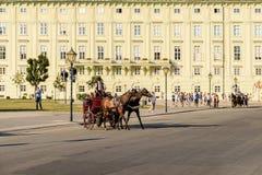 Hästar och klassisk vagnstransport på den Hofburg slotten Arkivbilder