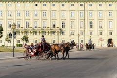 Hästar och klassisk vagnstransport på den Hofburg slotten Royaltyfria Bilder