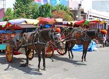 Hästar och vagnar eller delman i den Padang staden Indonesien arkivbilder