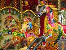 Hästar på en karusell Royaltyfria Bilder