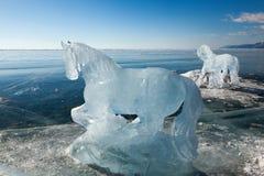 Hästar skulpturer från is Royaltyfria Bilder