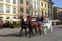 Hästdragen vagn i Krakow Royaltyfri Fotografi