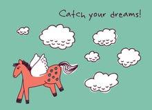 Hästen drömmer och fördunklar kortet Arkivfoton