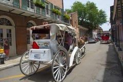 Hästen drog vagnen turnerar i New Orleans Arkivbild