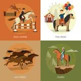 Hästen föder upp symbolsfyrkanten för begrepp 4 stock illustrationer