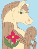Hästen finner en rosa blomma Fotografering för Bildbyråer