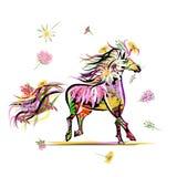 Hästen skissar med blom- garnering för ditt stock illustrationer