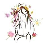 Hästen skissar med blom- garnering för ditt vektor illustrationer