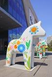 Hästen skulpterar på den Livat shoppinggallerian, Peking, Kina Arkivfoto