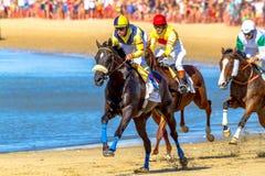 Hästkapplöpning på Sanlucar av Barrameda, Spanien, 2016 Fotografering för Bildbyråer