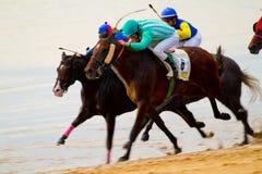 Hästkapplöpning på Sanlucar av Barrameda, Spanien Royaltyfri Fotografi