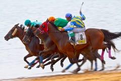 Hästkapplöpning på Sanlucar av Barrameda, Spanien Royaltyfria Bilder