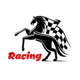 Hästkapplöpningsymbol med den tävlings- rutiga flaggan Arkivfoton