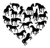 Hästkonturhjärta vektor illustrationer