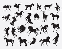 Hästkontursamling - illustration Royaltyfria Bilder