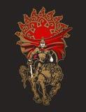 Hästkrigare i harnesk med svärdet och skölden Royaltyfria Bilder