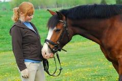 hästkvinna Royaltyfria Bilder