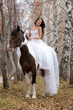 hästkvinnabarn arkivfoto