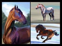 Hästmålningar royaltyfri illustrationer