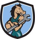 Hästmekaniker Spanner Crest Cartoon Royaltyfria Foton