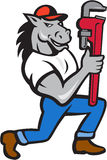 HäströrmokareKneeling Monkey Wrench tecknad film Arkivfoto